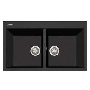 "LaToscana Plados 34"" x 20"" Double Basin Granite Drop-In Sink in a Black Metallic AM8620-44"