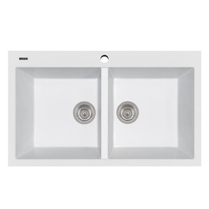 "LaToscana Plados 34"" x 20"" Double Basin Granite Drop-In Sink in a Milk White AM8620-58"