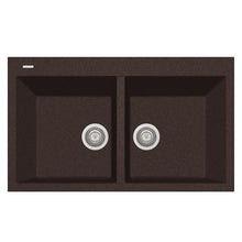 "Load image into Gallery viewer, LaToscana Plados 34"" x 20"" Double Basin Granite Drop-In Sink in Brown AM8620-64"