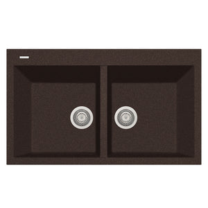 "LaToscana Plados 34"" x 20"" Double Basin Granite Drop-In Sink in a Titanium, Black Metallic, Milk White and Brown Finish"