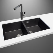 "Load image into Gallery viewer, LaToscana Plados 34"" x 18"" Double Basin Granite Undermount Sink in a Black Metallic AM8620ST-44"