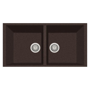 "LaToscana Plados 34"" x 18"" Double Basin Granite Undermount Sink in a Brown AM8620ST-64"
