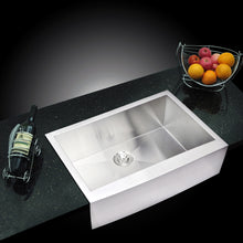 "Load image into Gallery viewer, Water Creation 33"" x 22"" Zero Radius Single Bowl Stainless Steel Hand Made Apron Front Kitchen Sink With Drain and Strainer SS-AS-3322B-16"
