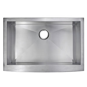 "Water Creation 33"" x 22"" Zero Radius Single Bowl Stainless Steel Hand Made Apron Front Kitchen Sink With Drain and Strainer SS-AS-3322B-16"