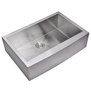 "Water Creation 33"" x 22"" Zero Radius Single Bowl Stainless Steel Hand Made Apron Front Kitchen Sink SS-AS-3322A-16"