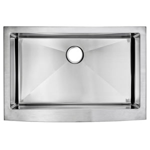 "Water Creation 33"" x 22"" 15mm Corner Radius Single Bowl Stainless Steel Hand Made Apron Front Kitchen Sink With Drain and Strainer SSS-AS-3322B-16"