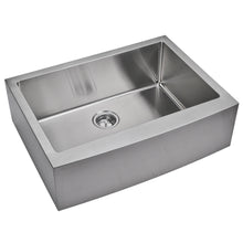 "Load image into Gallery viewer, Water Creation 33"" x 22"" 15mm Corner Radius Single Bowl Stainless Steel Hand Made Apron Front Kitchen Sink With Drain and Strainer SSS-AS-3322B-16"