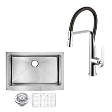 "Load image into Gallery viewer, Water Creation 33"" X 22"" 15mm Corner Radius Single Bowl Stainless Steel Hand Made Apron Front Kitchen Sink With Drain, Strainer, Bottom Grid, And Single Hole Faucet CF511-AS-3322B"