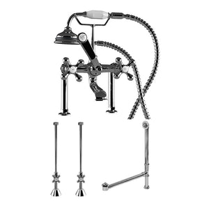 "Cambridge Plumbing Complete Deck Mount Plumbing Package: Telephone Faucet w/ 6"" Deck Risers, Supply Lines, Shut Off Valves and Drain Assembly CAM463D-6-PKG-CP"