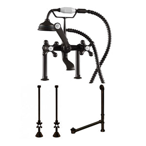 "Cambridge Plumbing Complete Deck Mount Plumbing Package: Telephone Faucet w/ 6"" Deck Risers, Supply Lines, Shut Off Valves and Drain Assembly CAM463D-6-PKG-ORB"