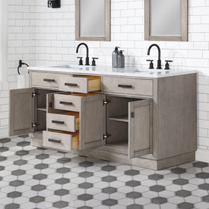 "Water Creation Chestnut 72"" Double Bathroom Vanity CH72D-0314GK"