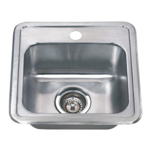 "Wells Sinkware 15"" x 15"" 22-gauge Drop-in Single Bowl Stainless Steel Bar Sink with Grid Rack and Strainer"