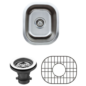 "Wells Sinkware 15"" x 13"" 18-gauge Undermount Single Bowl Stainless Steel Bar Sink with Grid Rack and Strainer CMU1513-7-1"