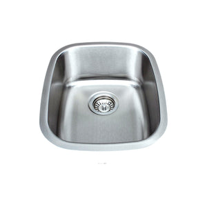 "Wells Sinkware 15"" x 19"" 18-gauge Undermount Single Bowl Stainless Steel Bar Sink with Grid Rack and Strainer"