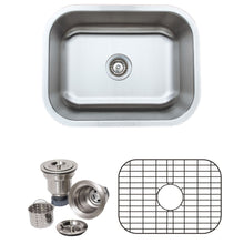 "Load image into Gallery viewer, Wells Sinkware 23"" 18-gauge Undermount Single Bowl Stainless Steel Kitchen Sink with Grid Rack and Basket Strainer CMU2318-9-1"
