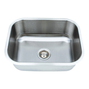 "Wells Sinkware 23"" 18-gauge Undermount Single Bowl Stainless Steel Kitchen Sink with Grid Rack and Basket Strainer CMU2318-9-1"