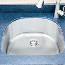 "Load image into Gallery viewer, Wells Sinkware 24"" 16-gauge Undermount D-shaped Single Bowl Stainless Steel Kitchen Sink CMU2421-9D-16"