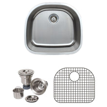 "Load image into Gallery viewer, Wells Sinkware 24"" 18-gauge Undermount D-shaped Single Bowl Stainless Steel Kitchen Sink with Grid Rack and Basket Strainer CMU2421-9D-1"