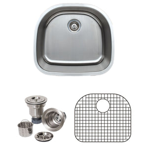 "Wells Sinkware 24"" 18-gauge Undermount D-shaped Single Bowl Stainless Steel Kitchen Sink with Grid Rack and Basket Strainer"
