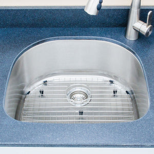 "Wells Sinkware 24"" 18-gauge Undermount D-shaped Single Bowl Stainless Steel Kitchen Sink with Grid Rack and Basket Strainer CMU2421-9D-1"