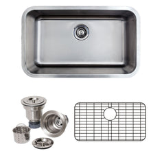 "Load image into Gallery viewer, Wells Sinkware 30"" 16-gauge Undermount Single Bowl Stainless Steel Kitchen Sink with Grid Rack and Basket Strainer CMU3018-9-16-1"