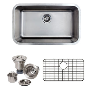 "Wells Sinkware 30"" 16-gauge Undermount Single Bowl Stainless Steel Kitchen Sink with Grid Rack and Basket Strainer CMU3018-9-16-1"