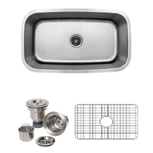 "Load image into Gallery viewer, Wells Sinkware 32"" 16-gauge Undermount Single Bowl Stainless Steel Kitchen Sink with Grid Rack and Basket Strainer CMU3118-10-16-1"