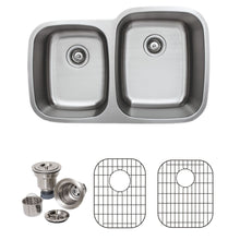 "Load image into Gallery viewer, Wells Sinkware 32"" 16-gauge Undermount 40/60 Double Bowl Stainless Steel Kitchen Sink with Grid Racks and Basket Strainers"