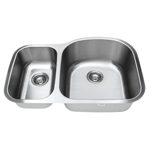 "Wells Sinkware 32"" 16-gauge Undermount 30/70 Double Bowl Stainless Steel Kitchen Sink CMU3221-79D-16"