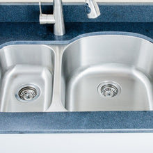 "Load image into Gallery viewer, Wells Sinkware 32"" 16-gauge Undermount 30/70 Double Bowl Stainless Steel Kitchen Sink CMU3221-79D-16"