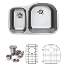 "Load image into Gallery viewer, Wells Sinkware 32"" 18-gauge Undermount 30/70 Double Bowl Stainless Steel Kitchen Sink with Grid Racks and Basket Strainers"