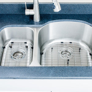 "Wells Sinkware 32"" 18-gauge Undermount 30/70 Double Bowl Stainless Steel Kitchen Sink with Grid Racks and Basket Strainers"