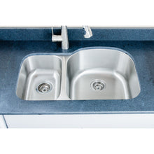 "Load image into Gallery viewer, Wells Sinkware 32"" 18-gauge Undermount 30/70 Double Bowl Stainless Steel Kitchen Sink CMU3221-79D"