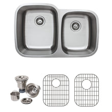 "Load image into Gallery viewer, Wells Sinkware 32"" 16-gauge Undermount 60/40 Double Bowl Stainless Steel Kitchen Sink with Grid Racks and Basket Strainers CMU3221-97-16-1"