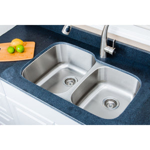 "Wells Sinkware 32"" 16-gauge Undermount 60/40 Double Bowl Stainless Steel Kitchen Sink with Grid Racks and Basket Strainers CMU3221-97-16-1"