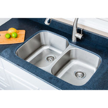 "Load image into Gallery viewer, Wells Sinkware 32"" 16-gauge Undermount 60/40 Double Bowl Stainless Steel Kitchen Sink CMU3221-97-16"