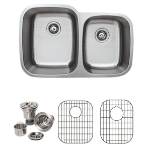 "Wells Sinkware 32"" 18-gauge Undermount 60/40 Double Bowl Stainless Steel Kitchen Sink with Grid Racks and Basket Strainers"