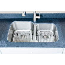 "Load image into Gallery viewer, Wells Sinkware 32"" 18-gauge Undermount 60/40 Double Bowl Stainless Steel Kitchen Sink with Grid Racks and Basket Strainers"