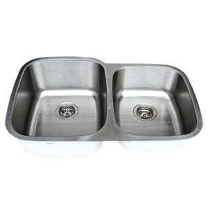 "Wells Sinkware 32"" 18-gauge Undermount 60/40 Double Bowl Stainless Steel Kitchen Sink with Grid Racks and Basket Strainers CMU3221-97-1"
