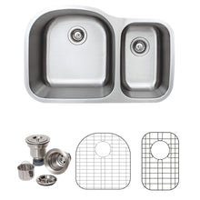 "Load image into Gallery viewer, Wells Sinkware 32"" 16-gauge Undermount 70/30 Double Bowl Stainless Steel Kitchen Sink with Grid Racks and Basket Strainers CMU3221-97D-16-1"