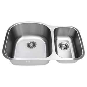 "Wells Sinkware 32"" 16-gauge Undermount 70/30 Double Bowl Stainless Steel Kitchen Sink with Grid Racks and Basket Strainers CMU3221-97D-16-1"