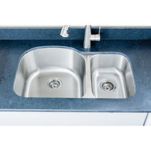 "Load image into Gallery viewer, Wells Sinkware 32"" 16-gauge Undermount 70/30 Double Bowl Stainless Steel Kitchen Sink CMU3221-97D-16"