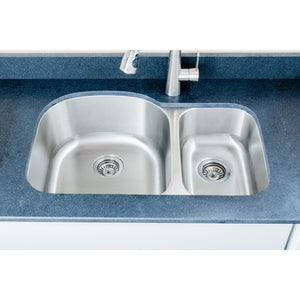 "Wells Sinkware 32"" 16-gauge Undermount 70/30 Double Bowl Stainless Steel Kitchen Sink CMU3221-97D-16"