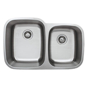 "Wells Sinkware 32"" 18-gauge Undermount 60/40 Double Bowl Stainless Steel Kitchen Sink"