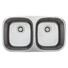 "Load image into Gallery viewer, Wells Sinkware 33"" 18-gauge Undermount 50/50 Double Bowl Stainless Steel Kitchen Sink"