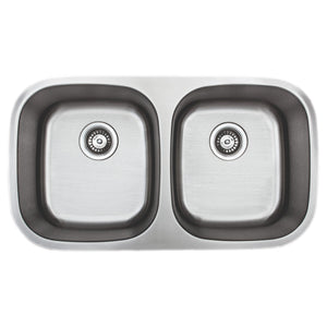 "Wells Sinkware 33"" 18-gauge Undermount 50/50 Double Bowl Stainless Steel Kitchen Sink"