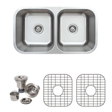 "Load image into Gallery viewer, Wells Sinkware 33"" 16-gauge Undermount 50/50 Double Bowl Stainless Steel Kitchen Sink with Grid Racks and Basket Strainers"
