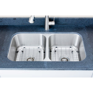 "Wells Sinkware 33"" 16-gauge Undermount 50/50 Double Bowl Stainless Steel Kitchen Sink with Grid Racks and Basket Strainers"