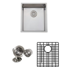"Load image into Gallery viewer, Wells Sinkware Handcrafted 17"" x 19"" 16-gauge Undermount Stainless Steel Bar Sink with Grid Rack and Basket Strainer CSU1719-9-1"