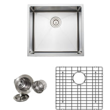 "Load image into Gallery viewer, Wells Sinkware Handcrafted 21"" x 21"" 16-gauge Undermount Single Bowl Stainless Steel Kitchen Sink with Grid Rack and Basket Strainer CSU2119-9-1"
